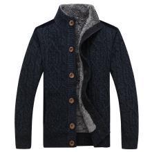 战地吉普 秋冬装新款男装单排扣开衫毛衣外套加绒加厚立领毛衫男