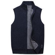 战地吉普 背心毛衣?#26143;?#20908;装新款男装加绒加厚开衫毛衣马甲外套立领无袖毛衫