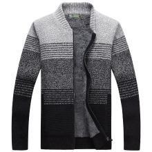 戰地吉普 開衫毛衣外套男秋冬裝新款男裝加絨加厚時尚拼色立領毛衫