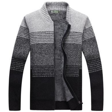 战地吉普 开衫毛衣外套男秋冬装新款男装加绒加厚时尚拼色立领毛衫