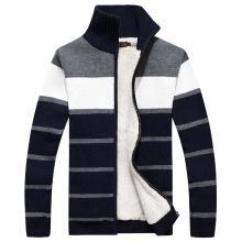 战地吉普 冬季新款长袖加绒加厚条纹立领毛衣拼色开衫毛衣外套男