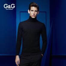 G&G男士秋季高領毛衣男潮黑色純色修身韓版冬季男裝長袖打底衫針織衫