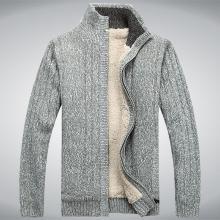 戰地吉普 開衫毛衣外套男秋冬裝新款男裝舒適保暖加絨加厚立領毛衫男