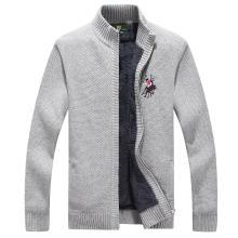 战地吉普 秋冬装新款加绒加厚开衫毛衣外套舒适保暖休闲立领毛衫男