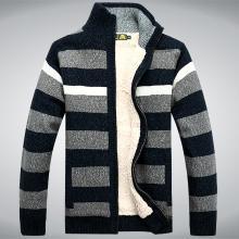 戰地吉普 秋冬裝新款男裝立領毛衫加絨加厚保暖開衫毛衣外套男