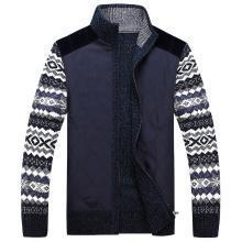 戰地吉普 開衫毛衣外套男秋冬裝新款男裝拼接舒適百搭加厚立領毛衫