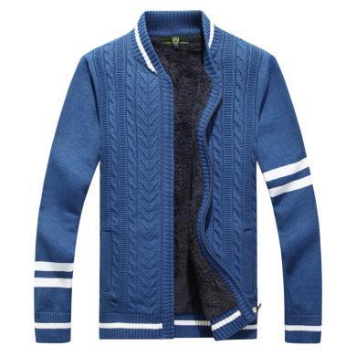 战地吉普 冬季新款男士立领毛衣加绒加厚保暖开衫毛衣外套男