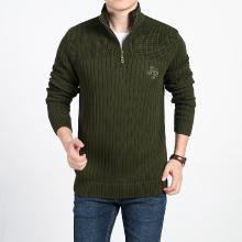 战地吉普 立领毛衣?#26143;?#20908;装新款男装修身百搭加绒加厚保暖套头毛衣