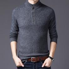 花花公子贵宾 男士羊毛衫秋冬装新款纽扣半高领毛衣修身保暖长袖针织衫男