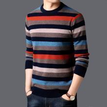 沐羊圆领青年套头针织打底衫男士修身韩版毛衣拼色个性C7408