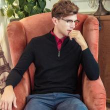 沐羊新商务休闲纯色男式男士套头圆领毛衣男半高拉链羊绒衫B37521