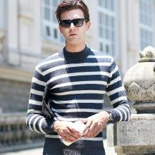 沐羊新纯羊毛衫男套头针织条纹衫男士半高领修身韩版男式毛衣68186