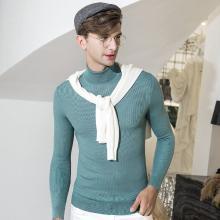 沐羊男秋装上新纯羊毛衫男高领针织打底衫男士条纹修身韩版毛衣B38348