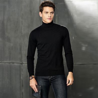 戰地吉圃 秋冬新款男裝羊毛衫保暖百搭內搭毛衣男式針織衫純色高領打底衫