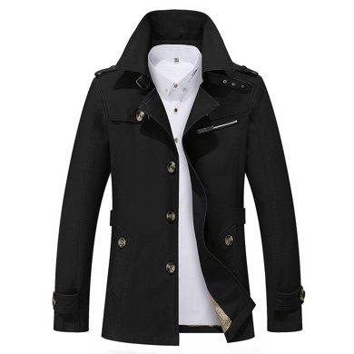 卓狼新款男士夾克春季中長款外套英倫薄款休閑風衣翻領修身大碼男裝J5793