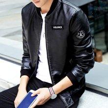 卓狼春季新款男士皮衣夹克休闲青年修身韩版帅气男装春秋薄款外套QG510