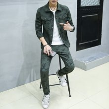 卓狼男士迷彩夹克套装韩版夹克男青年帅气休闲两件套装男装TZ9832