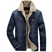 戰地吉圃 冬季新款加絨加厚大碼外套休閑男士牛仔夾克