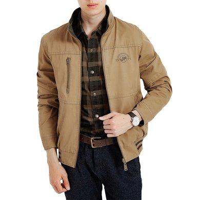 戰地吉普 秋冬裝新款加肥加大碼男士兩面穿外套休閑中年夾克風衣