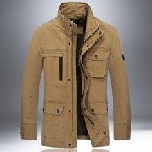 战地吉普 秋季新款休闲立领长袖夹克大码男装多口袋外套