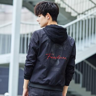 卓狼男士秋季外套新款韓版修身連帽褂子秋天個性潮流印花學生夾克J033gt