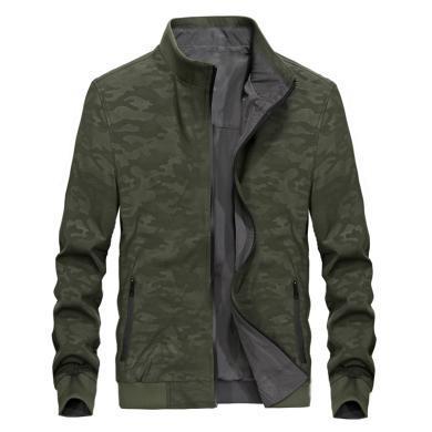 戰地吉普 男士外套夾克秋季新款雙面穿立領商務休閑男士夾克衫