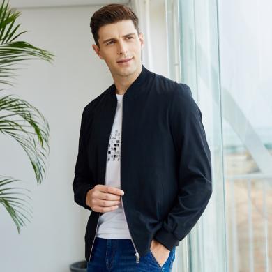 才子(TRIES)夾克男 2019春季新款夾克棒球領外套上衣修身耐磨新款夾克男 CZ/22191E0122