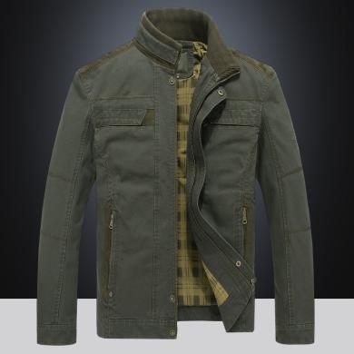 戰地吉普 春秋裝新款男裝休閑立領夾克外套寬松修身大碼茄克衫男