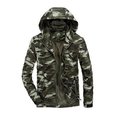 戰地吉圃 新款男士夾克時尚百搭寬松連帽迷彩青年外套