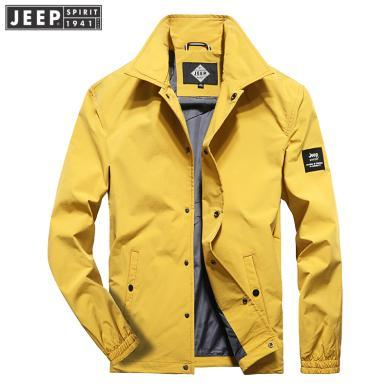 JEEP/吉普 2019新品男士彈力夾克翻領防風寬松透氣時尚大碼男戶外夾克 JPCS7582JD