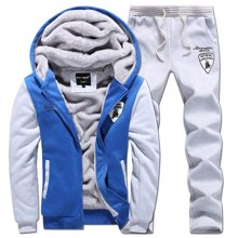 卓狼秋冬季休闲卫衣运动服套装男加绒加厚连帽外套修身青年套装W091