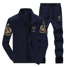 卓狼套装男士运动套装春秋季立领休闲卫衣外套棒球服男运动服D38