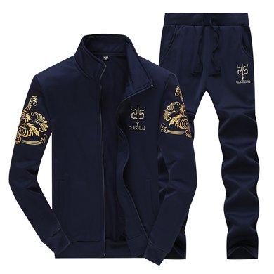 卓狼套裝男士運動套裝春秋季立領休閑衛衣外套棒球服男運動服D38
