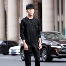 DupuSen度普森卫衣男2019秋季新款休闲运动套装男士长袖套头圆领两件套韩版潮流CY-8212