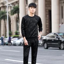 DupuSen度普森迷彩运动卫衣套装男韩版修身男士休闲修身帅气两件套青年一套衣服CY-8210