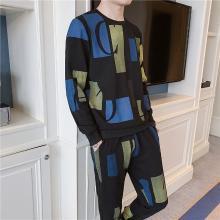 DupuSen度普森运动套装男春季2019新款韩版个性男式圆领卫衣男装男士迷彩两件套AP-605