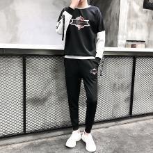 DupuSen度普森情侣休闲运动套装男春秋套头圆领运动装两件套潮流帅气运动服女RK-829A