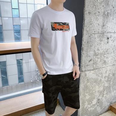 芃拉休閑運動男套裝男新款夏薄款短袖短褲健身運動兩件套衣服帥氣一套ZY6575