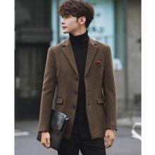 花花公子贵宾 秋冬装新款韩版商务休闲小西装外套羊毛呢男士大码西服上衣