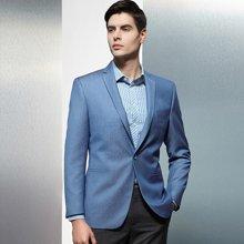 Evanhome/艾梵之家 春秋季商务休闲男士西服修身型 蓝色提花西装男潮流单西EVXF051