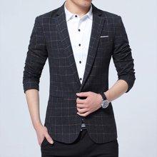 魔力怪车 四季新款韩版修身男士西装格纹小西装商务休闲单西服外套
