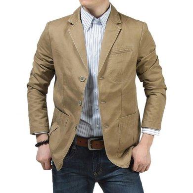 战地吉普 四季新款时尚宽松大码男装休闲男单西装外套