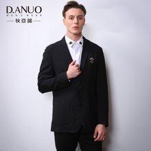 狄亞諾男裝 男士修身平駁領西服繡章純色西裝商務外套男 秋裝新款 103818