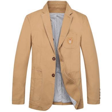 戰地吉普 秋季新款英倫風純色休閑西服經典百搭男士西裝外套