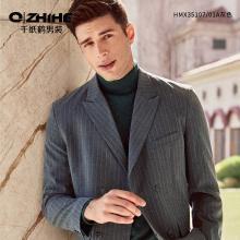 千纸鹤男士休闲西装竖条纹潮流套装上衣青年英伦风西服外套 35107