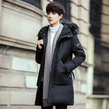 卓狼男士羽绒服修身中长款冬季新款韩版加厚白鸭绒外套潮Y7809