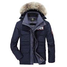战地吉普 冬季新款加厚宽松休闲棉衣连帽毛领羽绒服男士外套