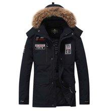 战地吉普 冬季新款加厚户外大码男士大毛领连帽羽绒服外套