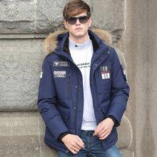 战地吉普 冬季新款加厚保暖连帽大毛领羽绒服贴标登山服外套