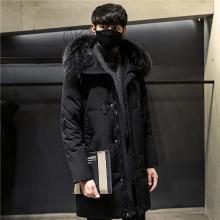 芃拉冬季新款男士羽绒服中长款真毛领连帽白鸭绒保暖外套DB1892